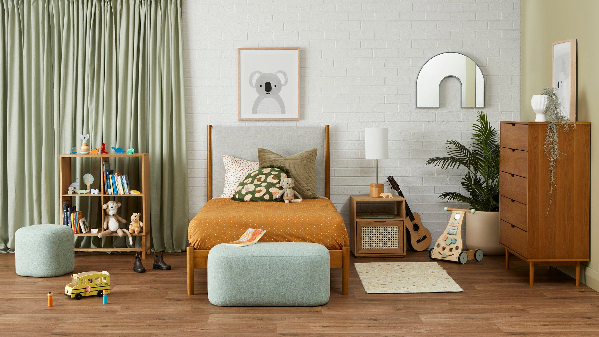 A cool and calm kids bedroom, shop the look online and instore!