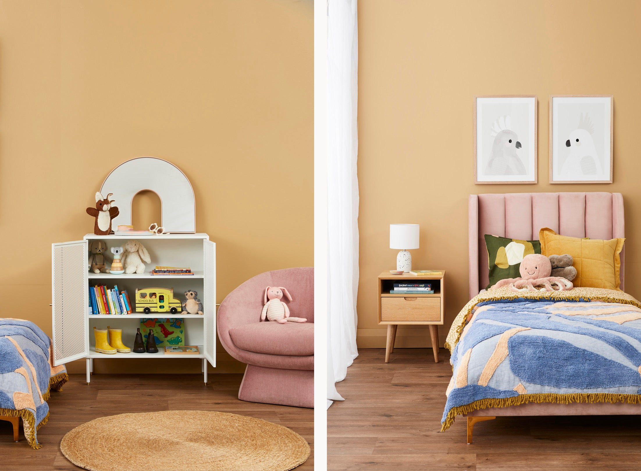 A warm and soft kids bedroom, shop the look online and instore!