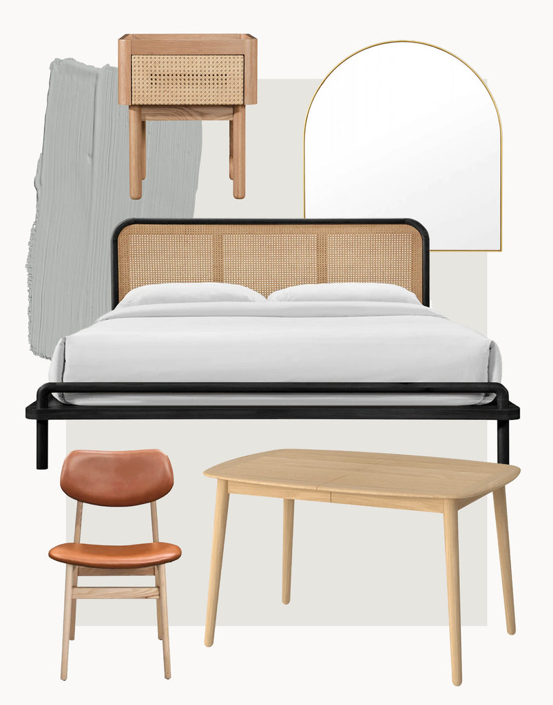Shop The Norah Rattan Bed & Bedside, Koto Dining Table, Ari Dining Chairs & Bjorn Arch Mirror In Sideboard in Sydney, Melbourne & Online.
