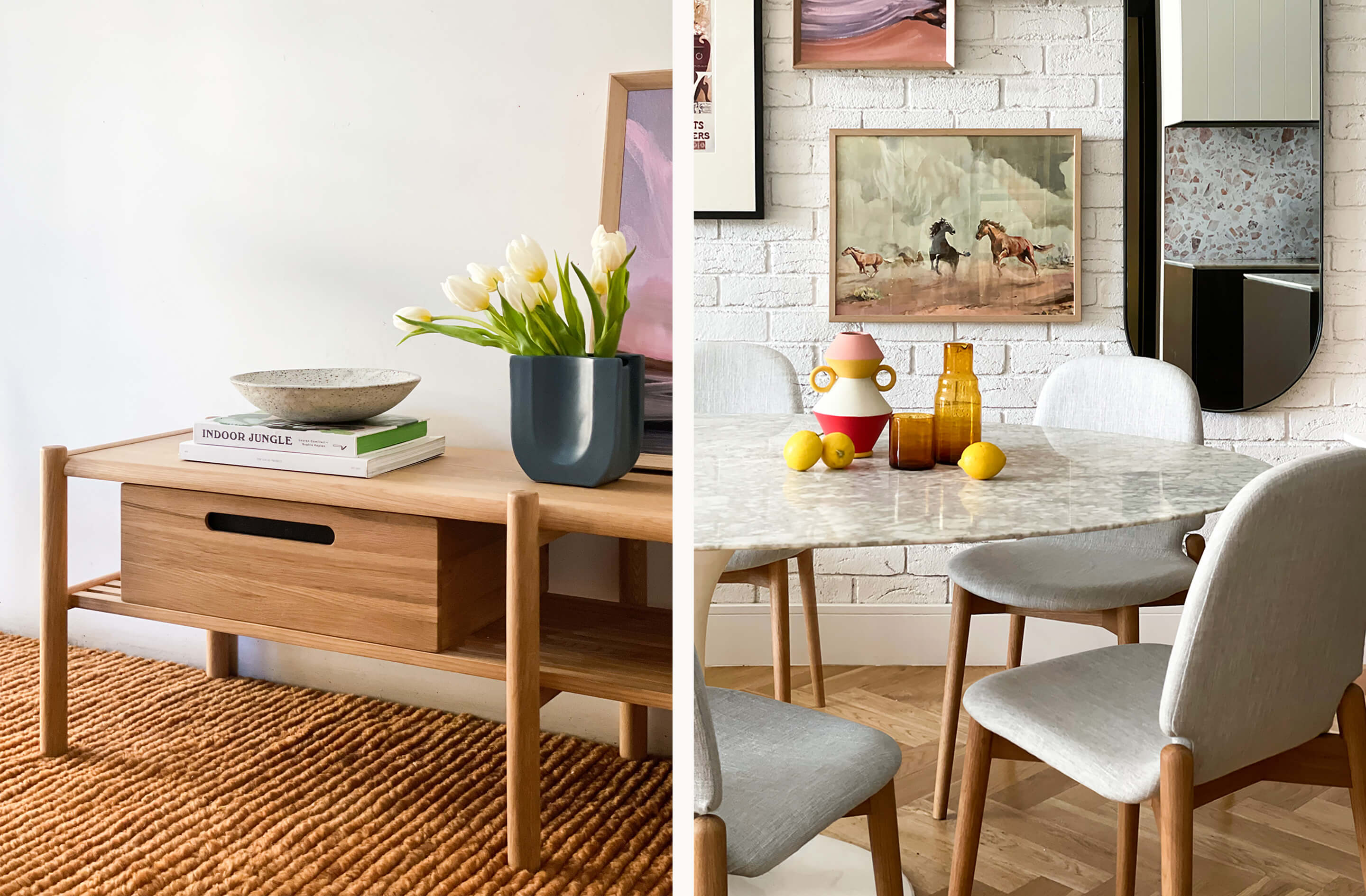 Life at home with our friend Jono Fleming: see our new collection of dining chairs, armchairs, benches, and homewares styled in his home