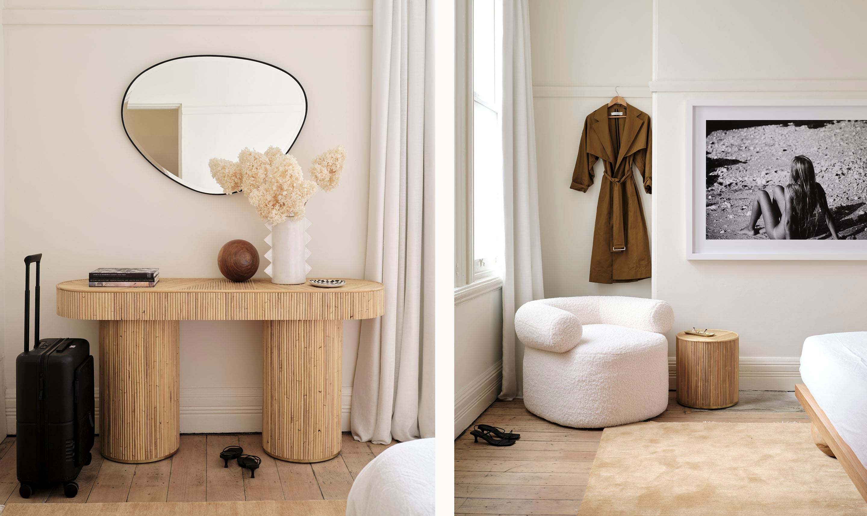 Sarah Ellison's Three Rooms apartment, featuring our Pebble Mirror, the Huggy Armchair, and the Halston Console