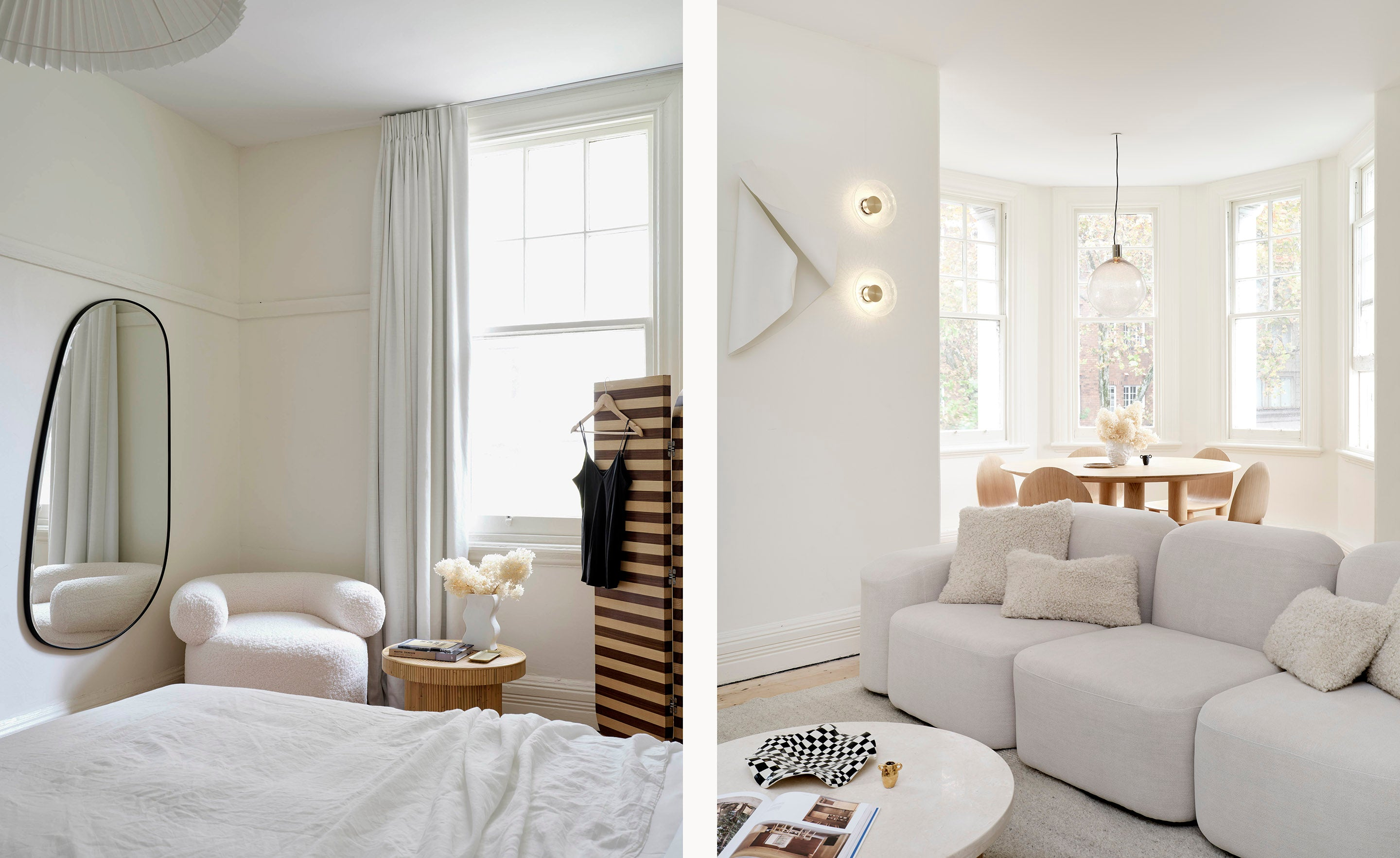 Sarah Ellison's Three Rooms apartment, featuring our Pebble Mirror, the Huggy Armchair, and the Muse Linen Modular Sofa