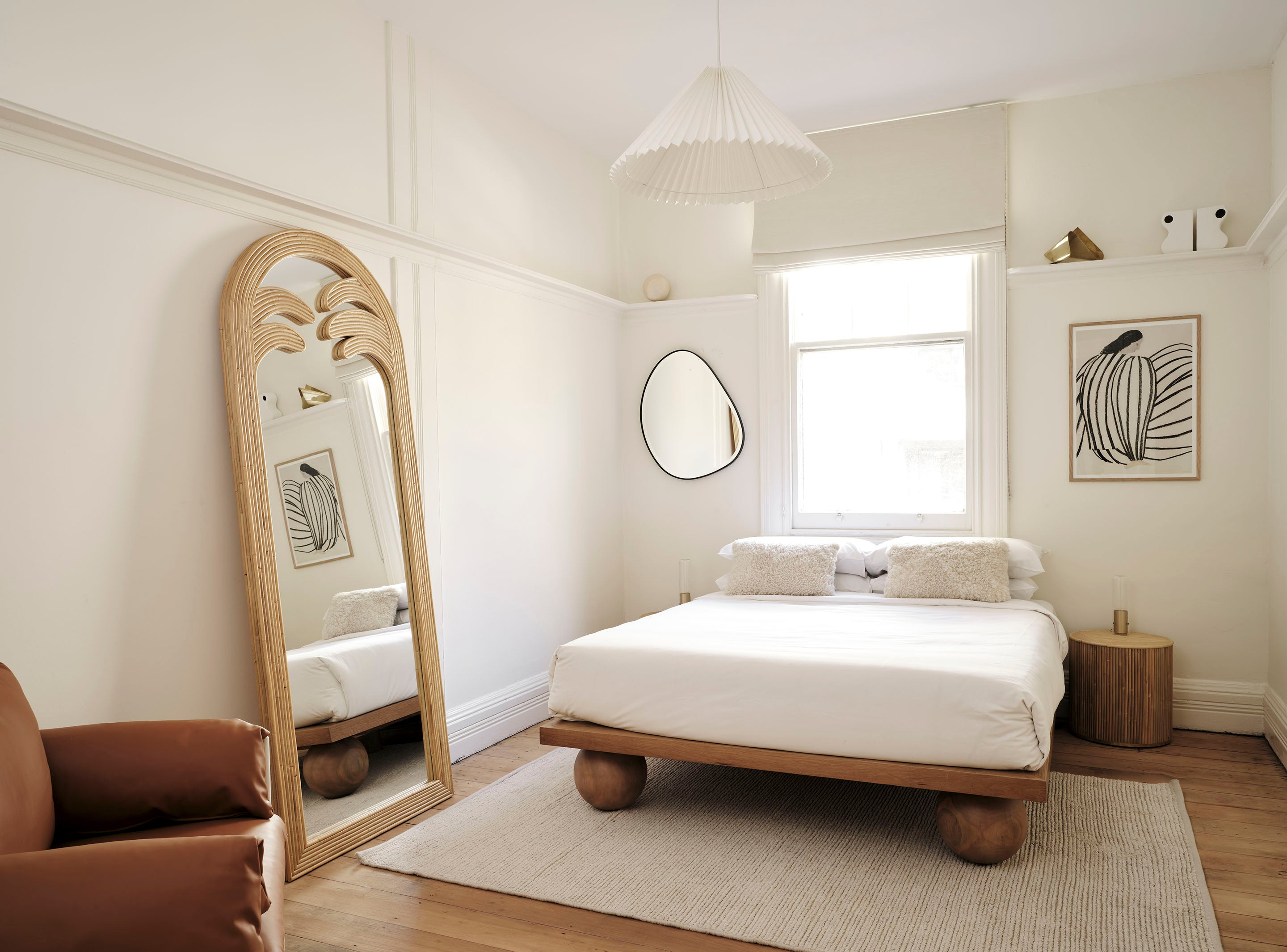 Sarah Ellison's Three Rooms apartment, featuring our Pebble Mirror, the Yoko Bed and the Gabriella Mirror
