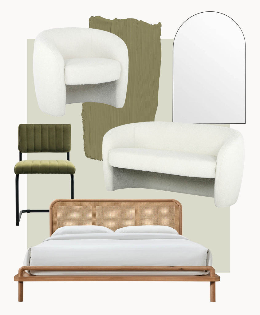 Shop The Monet Armchair, Blake Dining Chairs, Bjorn Arch Mirror & Norah Rattan King Bed in Sydney, Melbourne & Online.