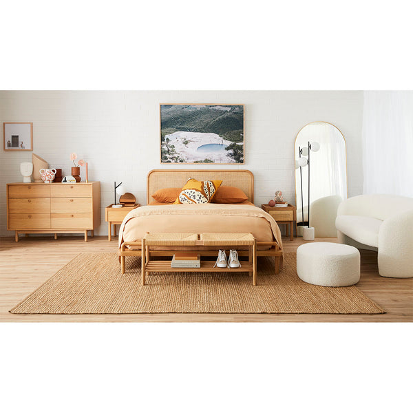 Life Interiors Shop Norah Rattan Double Bed Oak Furniture Online Or In Store