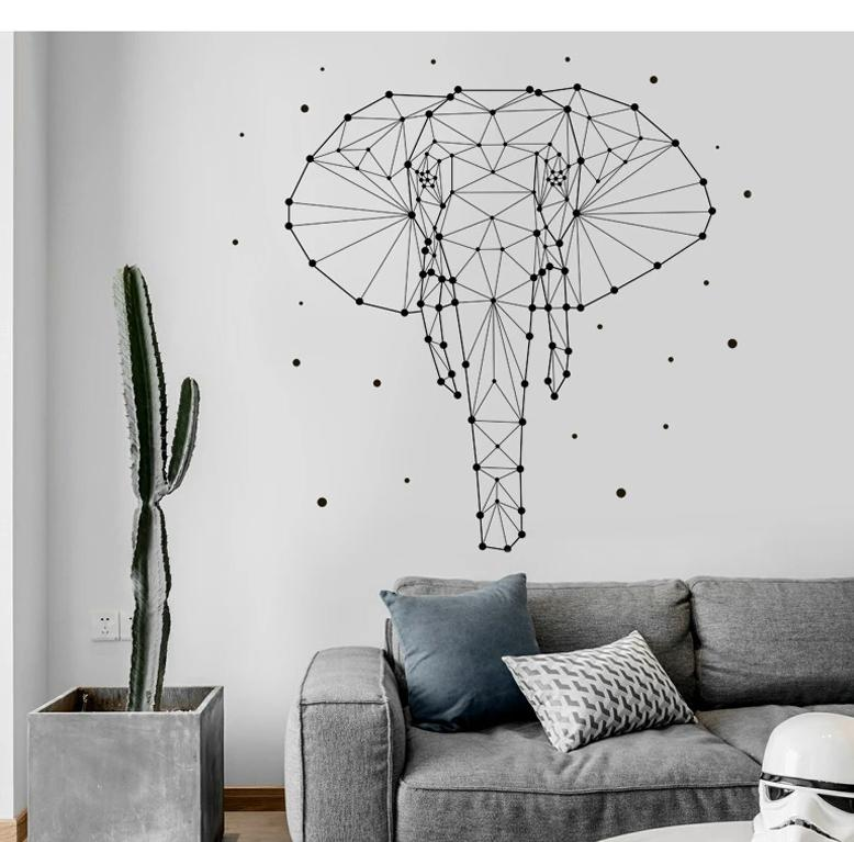 """Geometric Elephant"" Wall Sticker Decoration Collection"