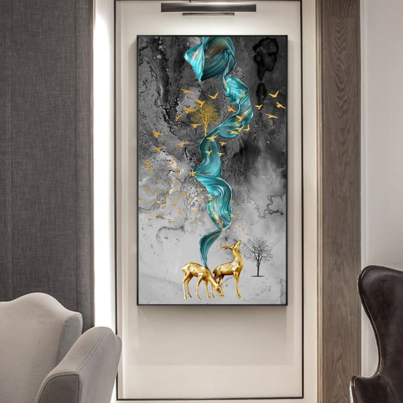 """Abstract Lucky Golden Deer"" Wall Canvas Art Collection"
