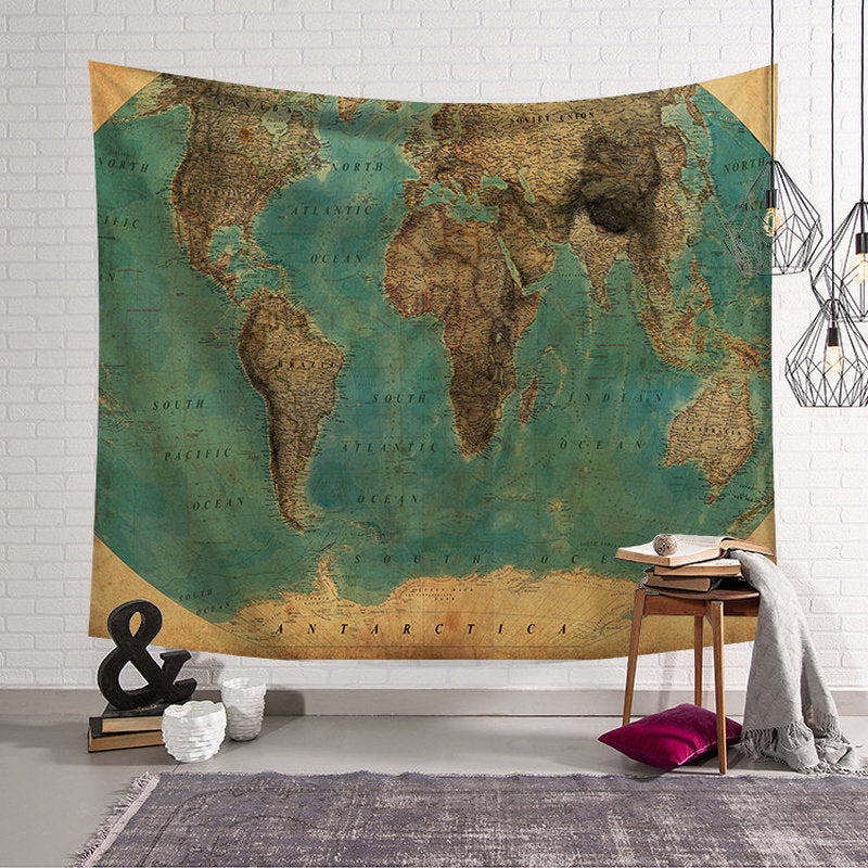 """Dreamy Traveler"" World Map Hanging Wall Tapestry"