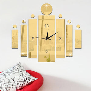 """Narcisio"" Mirror Wall Clock Sticker Set"