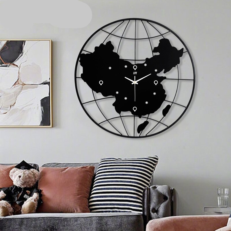 """Time Map"" World Map Metal Wall Clock"