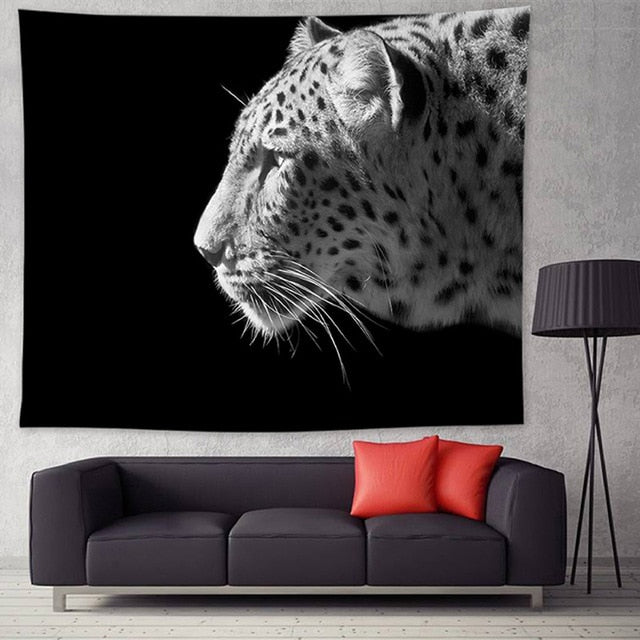 """Leopard"", Black and White Wall Hanging Tapestry"