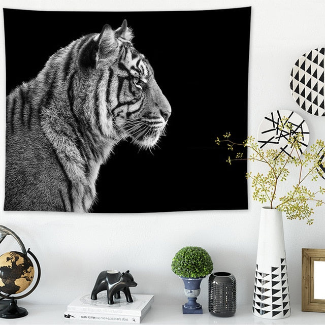 Tiger, Black and White Wall Hanging Tapestry