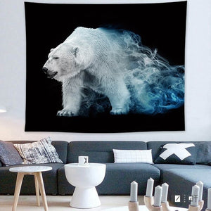 Polar Bear, Black and White Wall Hanging Tapestry