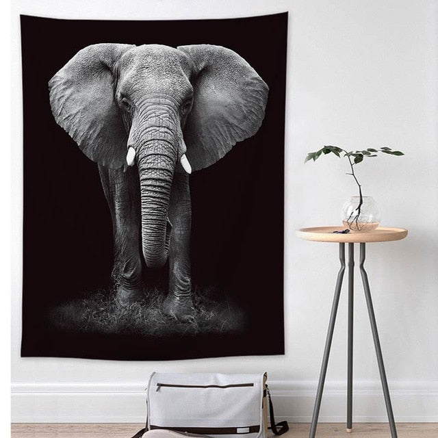 """Elephant"", Black and White Wall Hanging Tapestry"