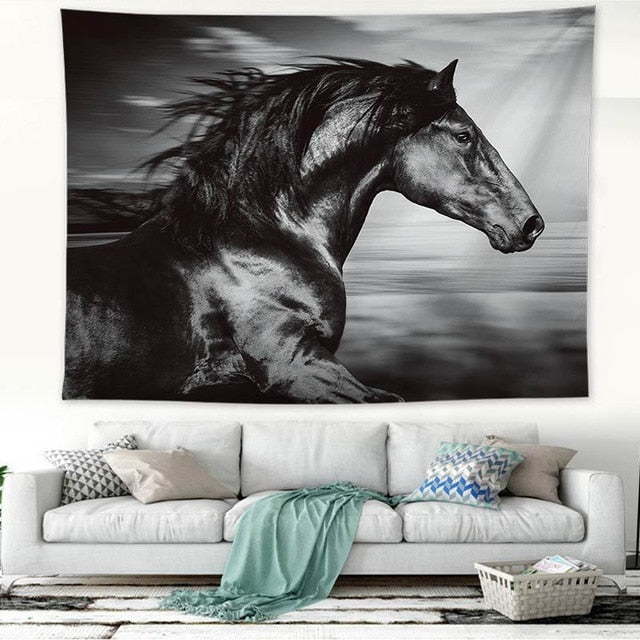 """Spirit Horse"", Black and White Wall Hanging Tapestry"