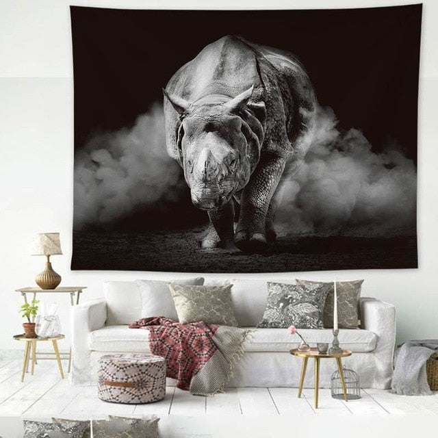 Rhino, Black and White Wall Hanging Tapestry