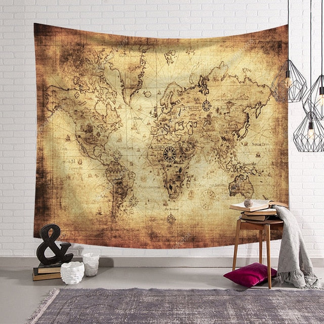 """Arabic Grind"" World Map Wall Hanging Tapestry"