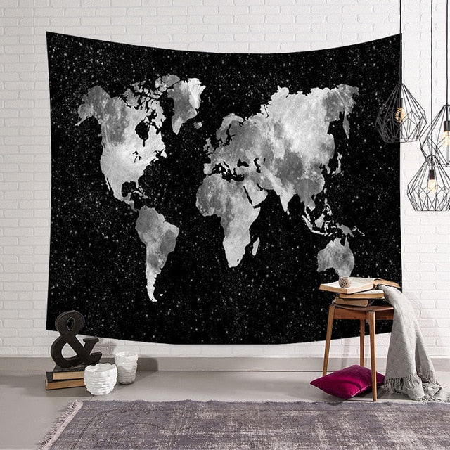 """The Classicist"" World Map, Wall Hanging Tapestry"