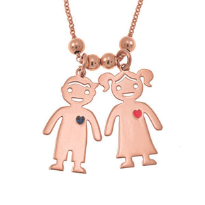 Necklace with Engraved Children Charms