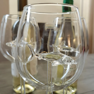 Crystal Shark Wine Glass