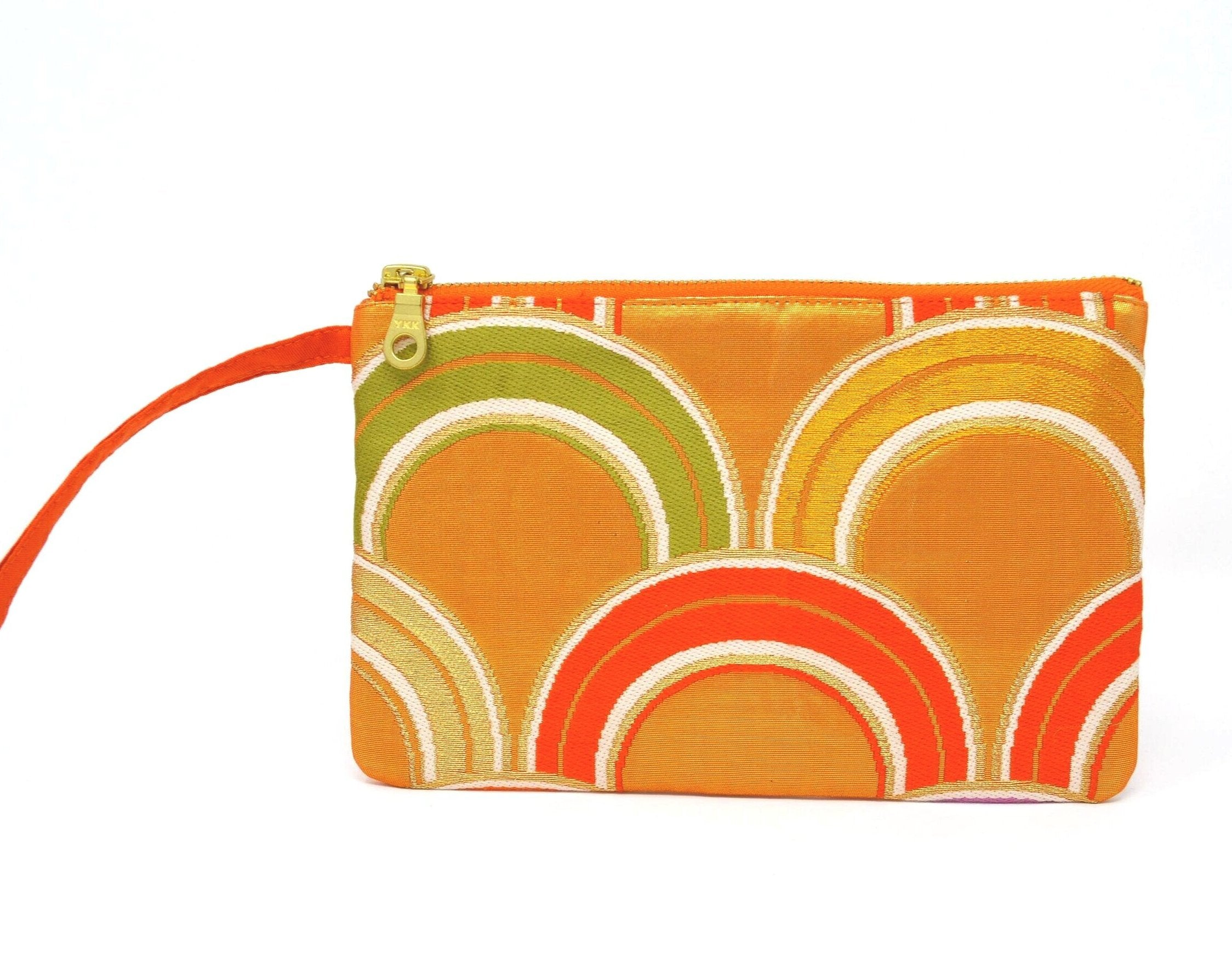 Orange Crush - Handmade Vintage Silk Wristlet