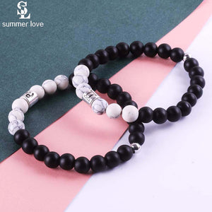 12 Constellation Charm 8mm Black Matte Stone Bracelet Elastic Beads Bracelets for Men Women Zodiac Signs Jewelry Dropshipping