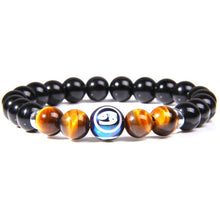 Load image into Gallery viewer, 12 Zodiac Signs 8mm Balck Onyx Tiger Eye Beads Bracelets Vintage Constellation Horoscope Bracelets Jewelry for Men Women