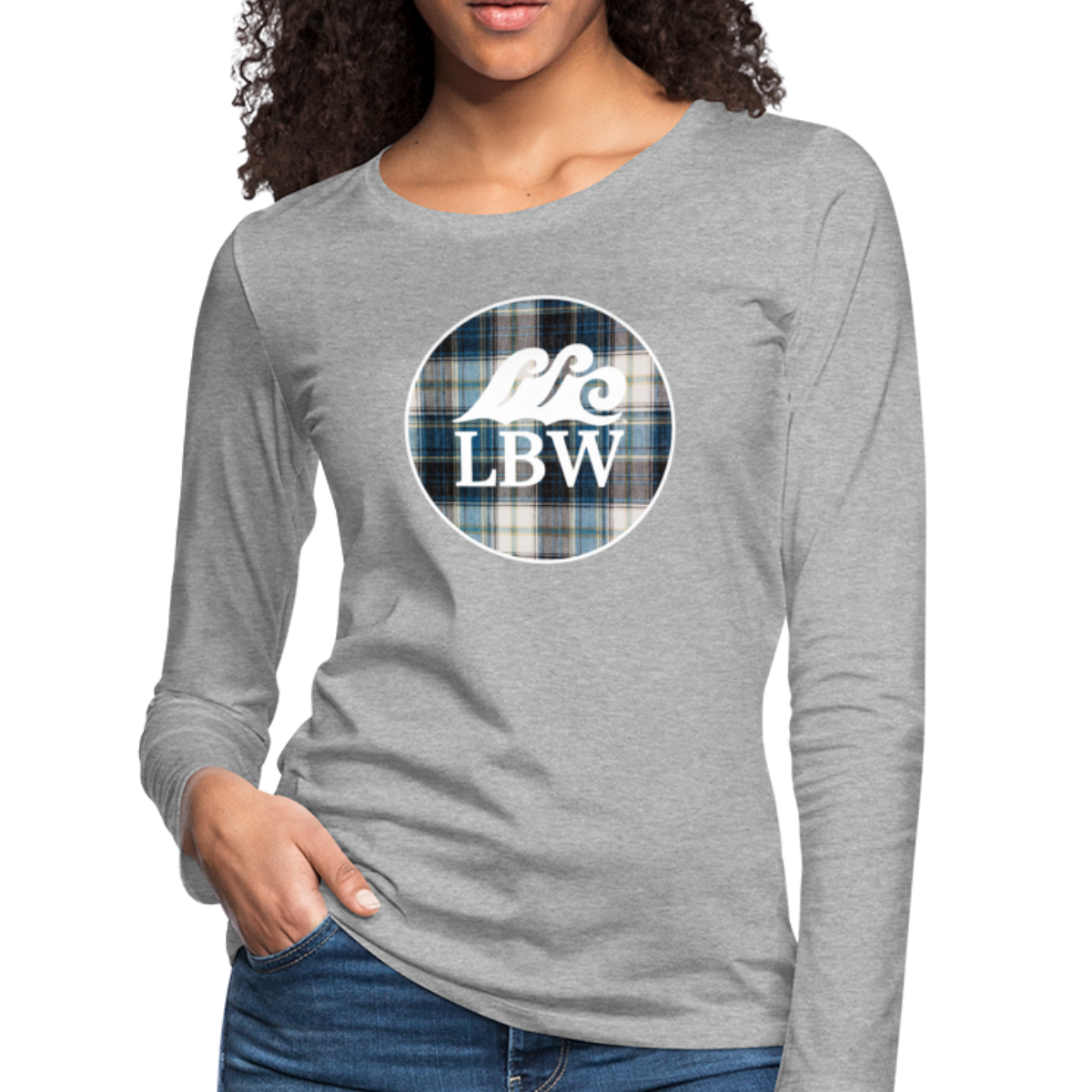 Teal Flannel & LBW Wave Logo-Women's  Long Sleeve T-Shirt