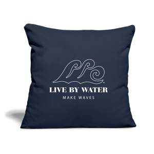 Live by Water Classic Logo - Navy Throw Pillow Cover