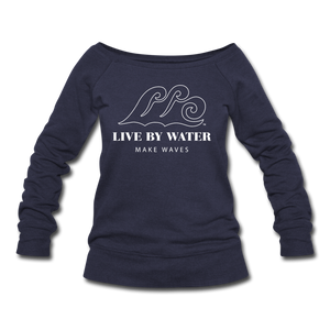 Open image in slideshow, Classic Logo - Women's Wide neck Sweatshirt - melange navy