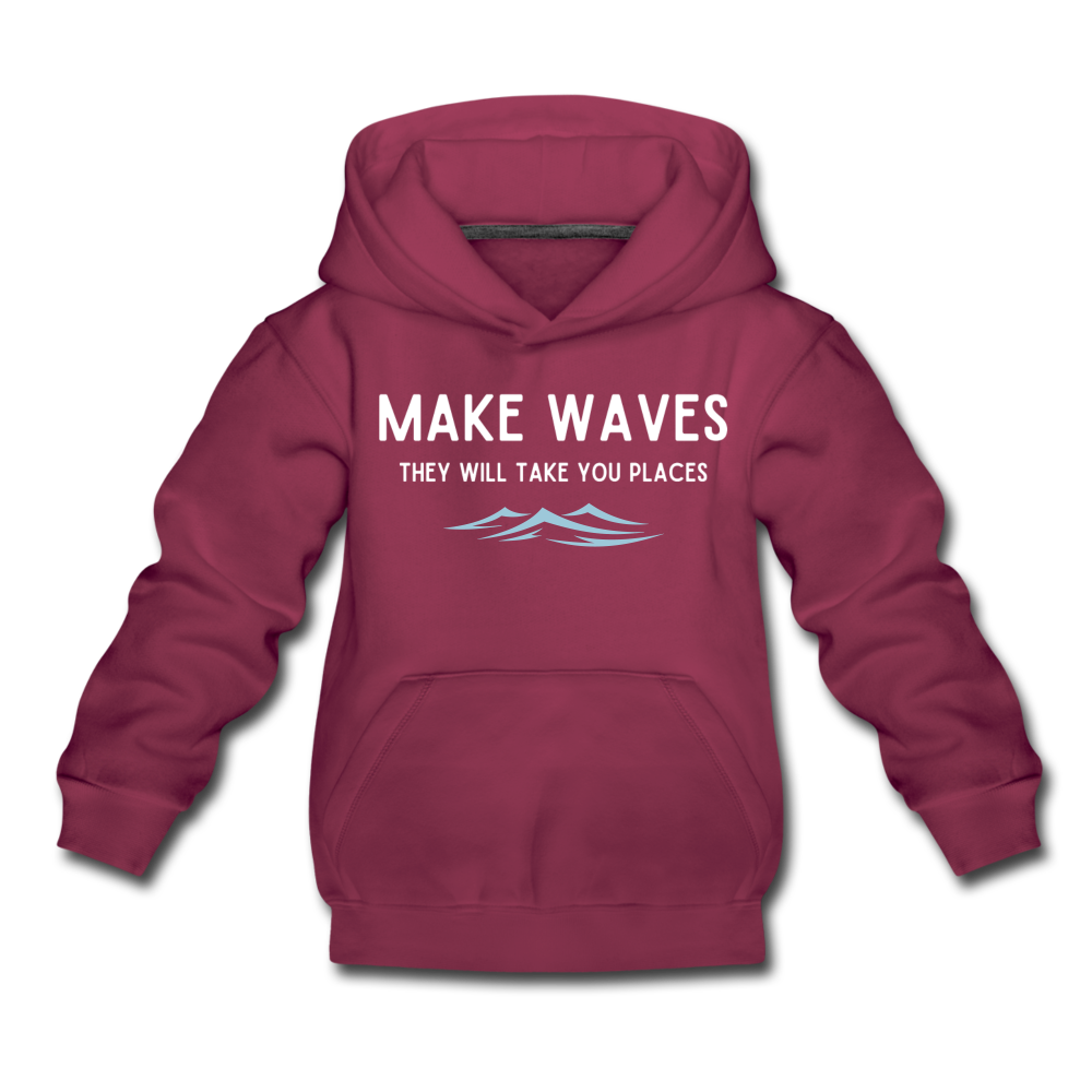Make Waves, they will take you places - Kids' Hoodie - burgundy