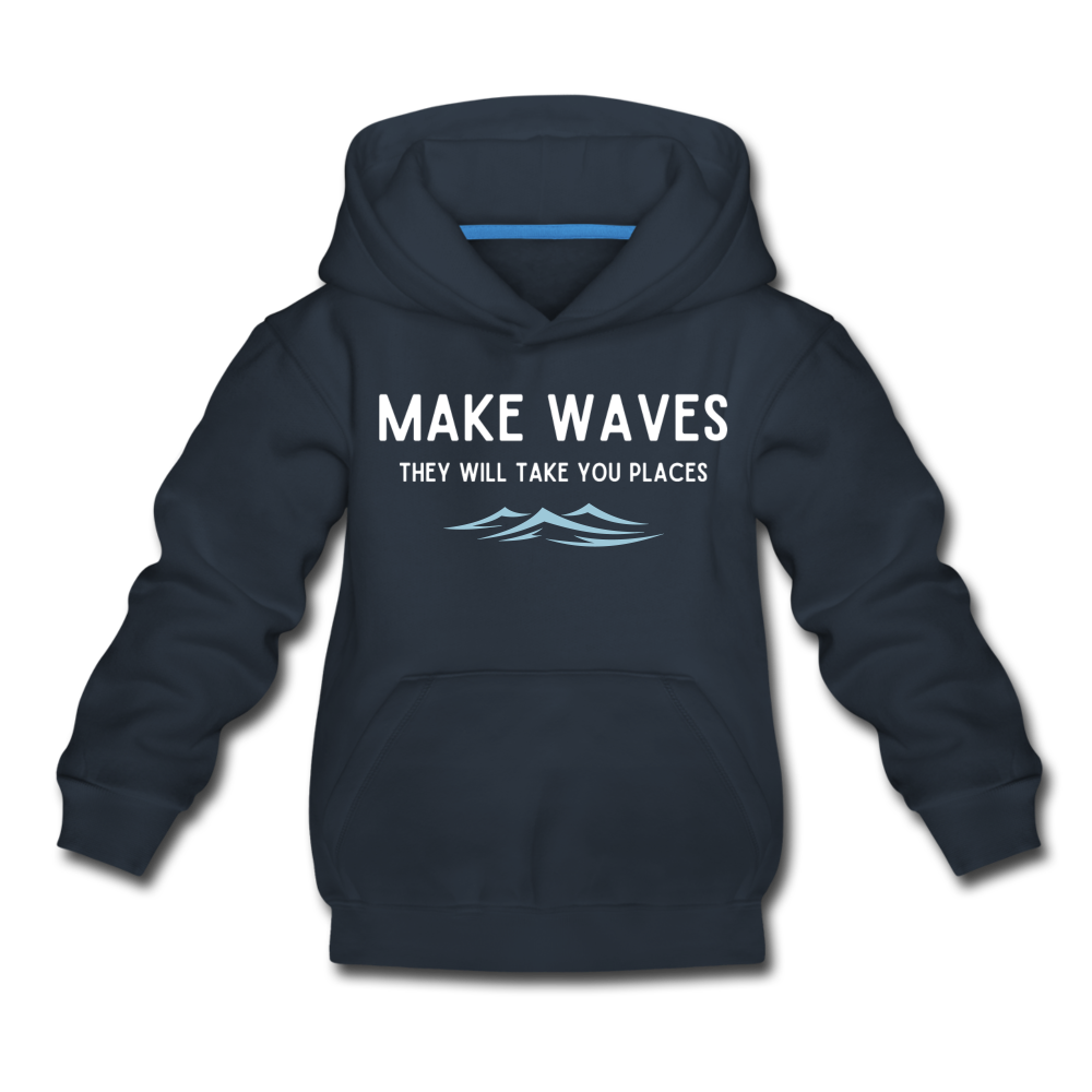 Make Waves, they will take you places - Kids' Hoodie - navy