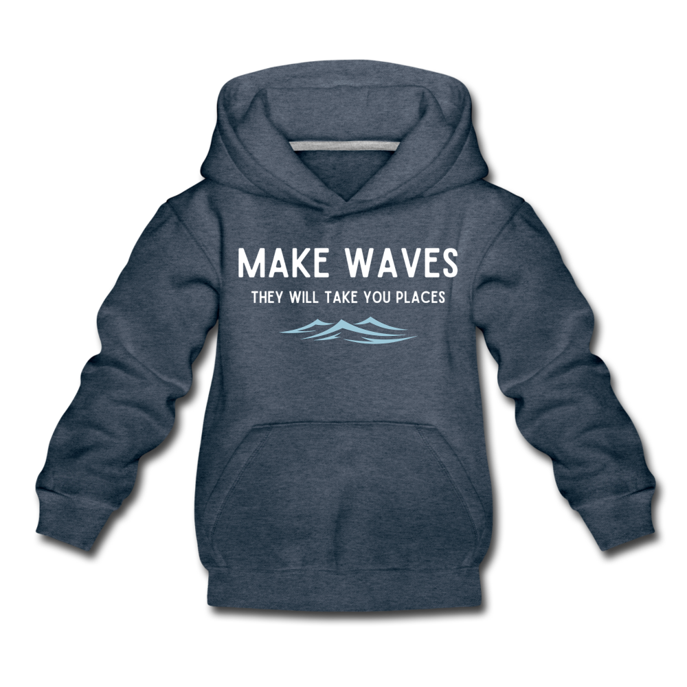 Make Waves, they will take you places - Kids' Hoodie - heather denim