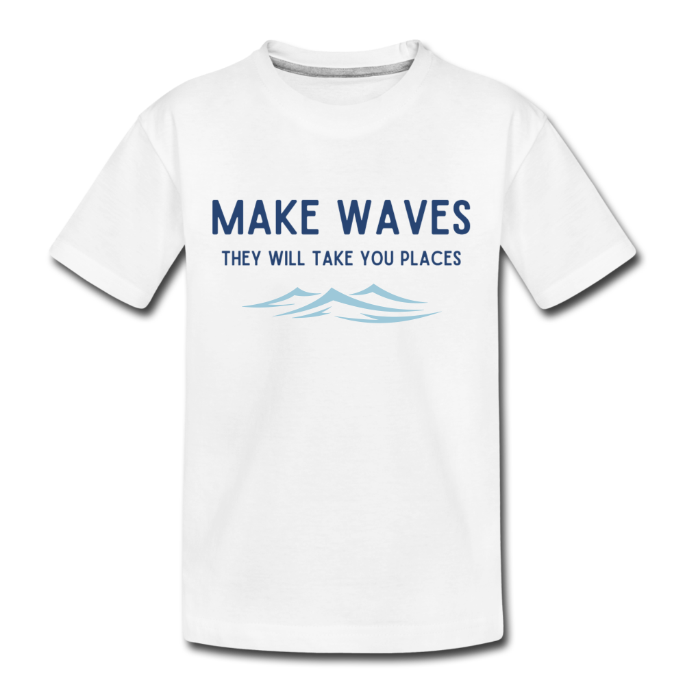 Make Waves, they will take you places - Kids' T-Shirt - white