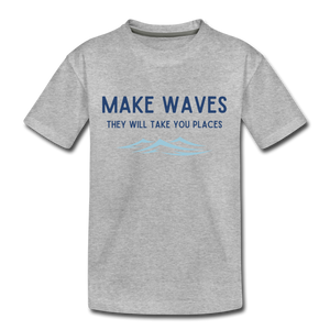 Open image in slideshow, Make Waves, they will take you places - Kids' T-Shirt - heather gray
