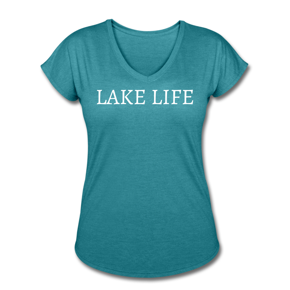 Lake Life-Live by Water 2-sided Women's T - heather turquoise