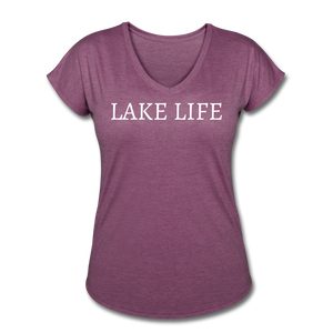 Open image in slideshow, Lake Life-Live by Water 2-sided Women's T - heather plum