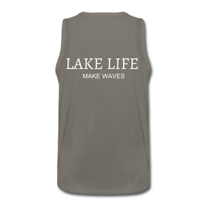 Lake Life-Make Waves Men's' Tank - asphalt gray