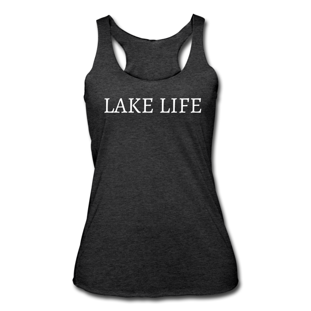 Lake Life-Make Waves 2-sided Women's Racerback Tank - heather black