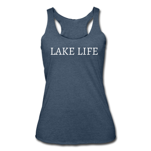 Lake Life-Make Waves 2-sided Women's Racerback Tank - heather navy