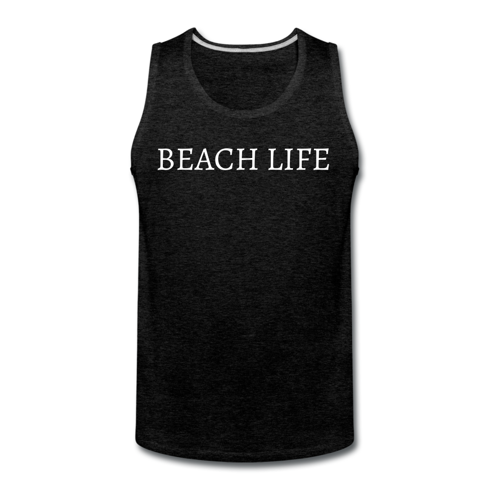 Beach Life-Make Waves 2-sided Men's Tank - charcoal gray