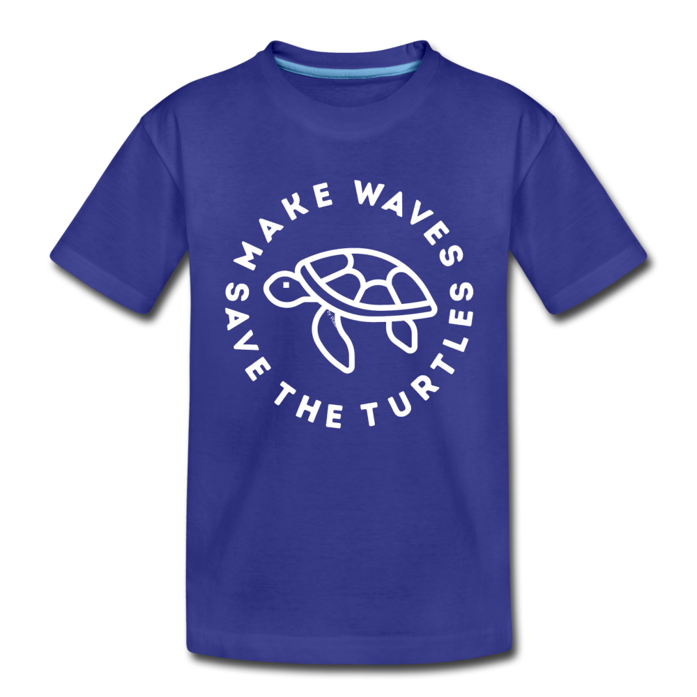 "The ""Kelsey"" Save the Turtles-Make Waves Toddler T - royal blue"