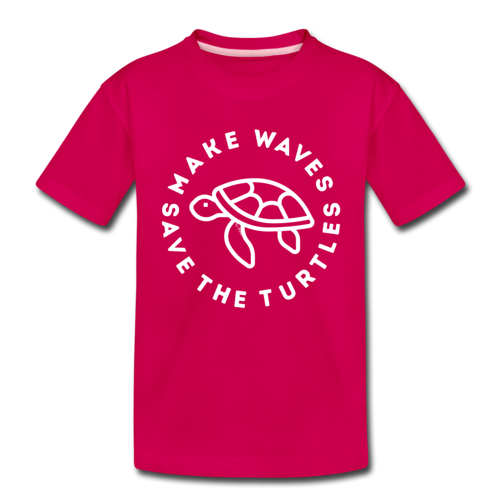 "The ""Kelsey"" Save the Turtles-Make Waves Toddler T - dark pink"