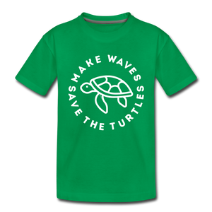 "The ""Kelsey"" Save the Turtles-Make Waves Toddler T - kelly green"