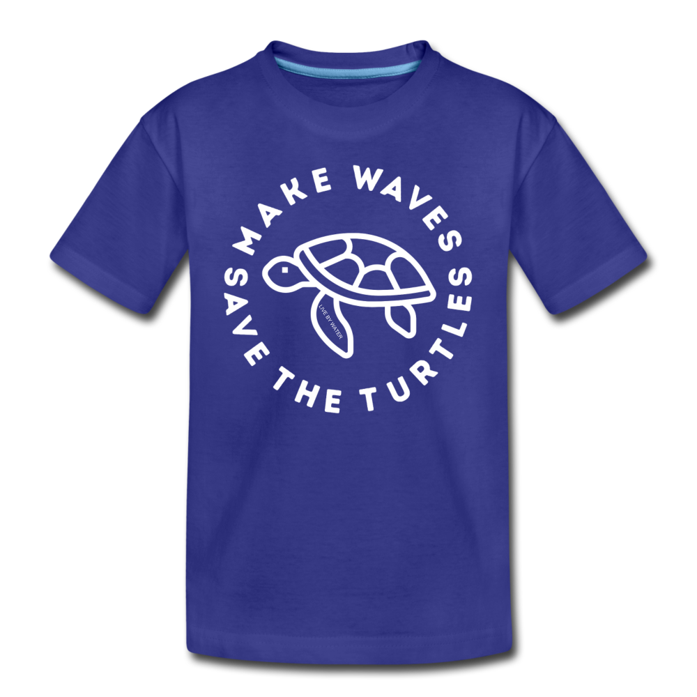 "The ""Kelsey"" Save the Turtles-Make Waves Kids T - royal blue"