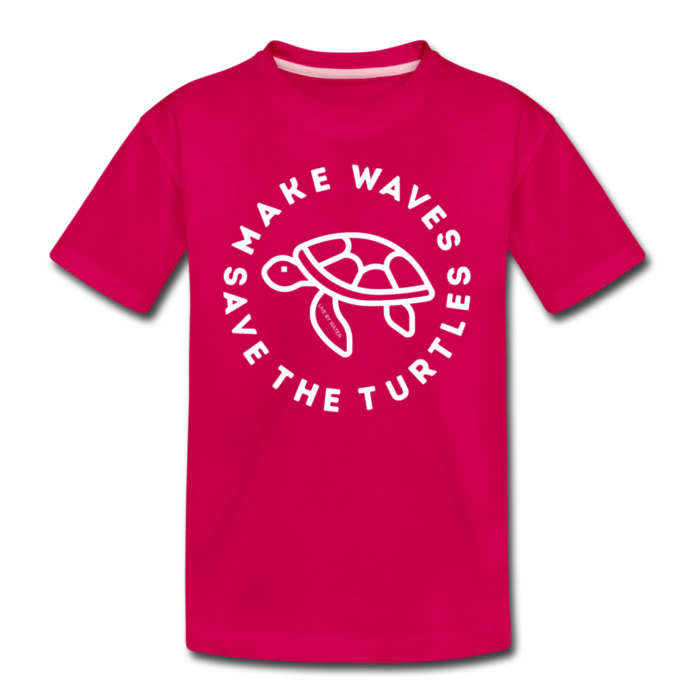 "The ""Kelsey"" Save the Turtles-Make Waves Kids T - dark pink"