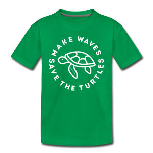 "Open image in slideshow, The ""Kelsey"" Save the Turtles-Make Waves Kids T - kelly green"