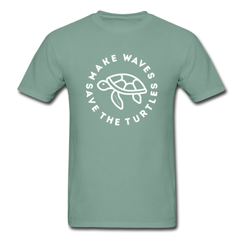 "The ""Kelsey"" Save the Turtles-Make Waves Unisex Adult T - seafoam green"