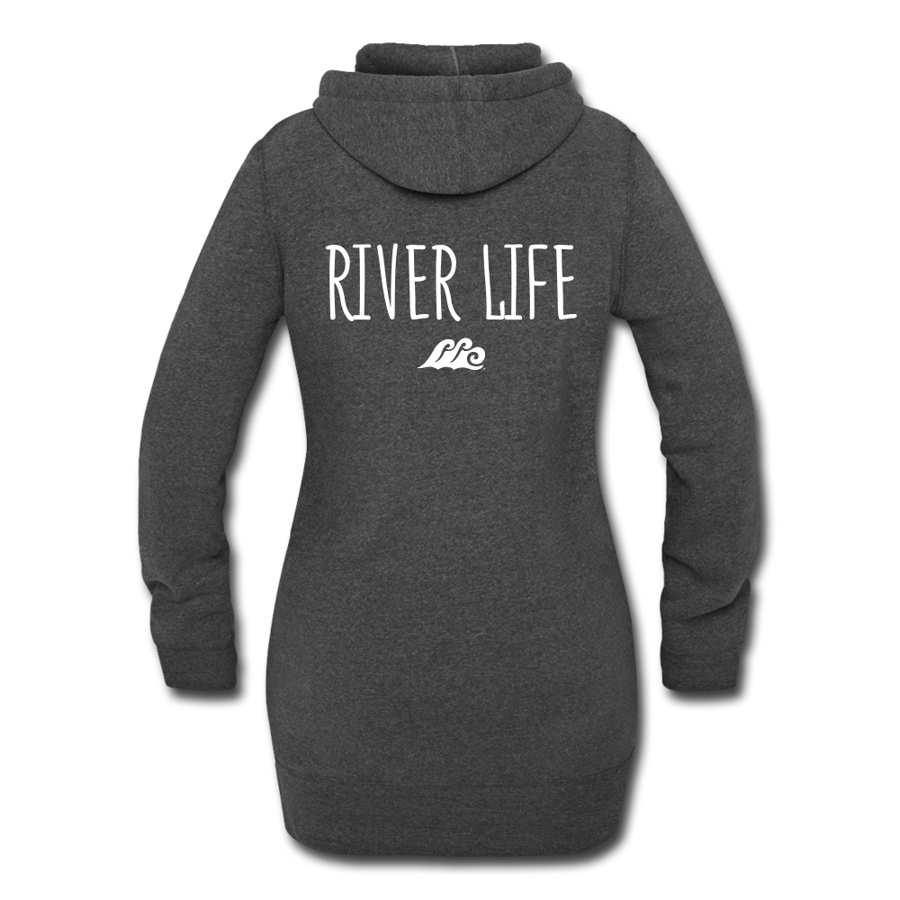 River Life-Women's Hoodie Dress - heather black
