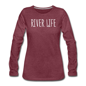 Open image in slideshow, River Life-Women's Sleeve T - heather burgundy